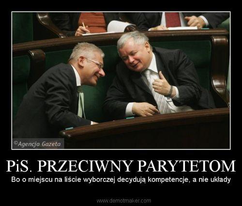 Demotywator PiS przeciwny parytetom